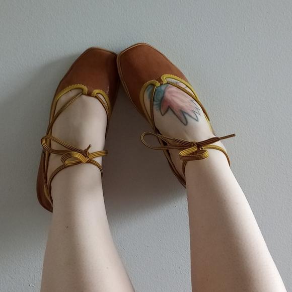 Nine West ankle tie leather ballet flats